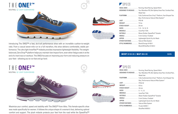 Altra One2 Spec Sheet